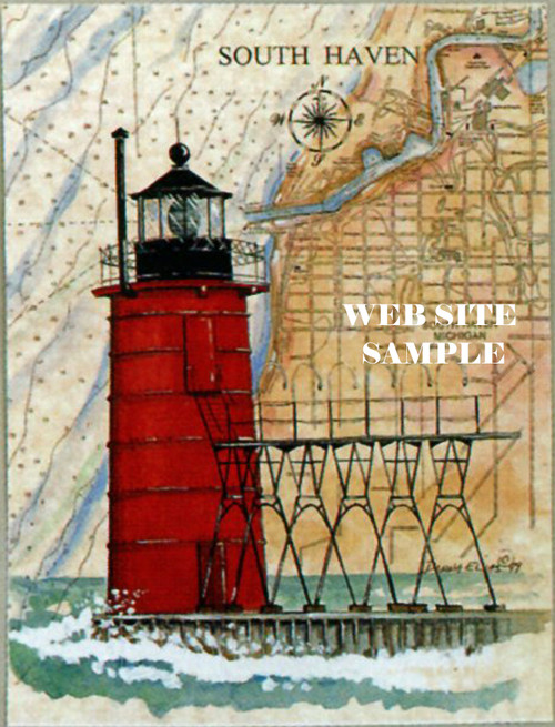South Haven Pierhead Sea Chart Lighthouse copyright Donna Elias