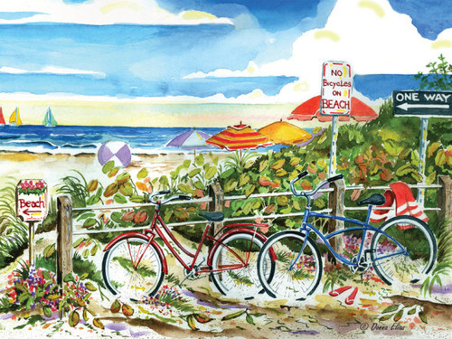 No Bikes on Beach Jig Saw Puzzle by Donna Elias