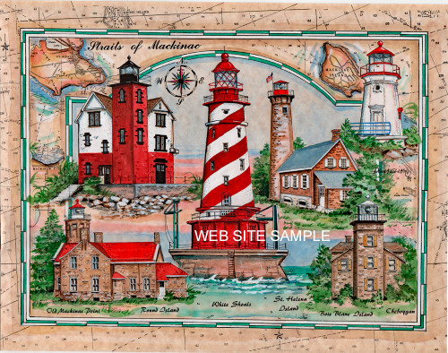 Lighthouses of the Straits of Mackinac Sea Chart Collage copyright Donna Elias