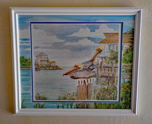 Pelican Bay custom framed fine art print with ORIGINAL Hand Painted Matting