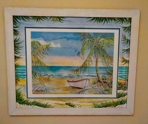 Palm Trees and Boat custom framed fine art print with ORIGINAL Hand Painted Matting