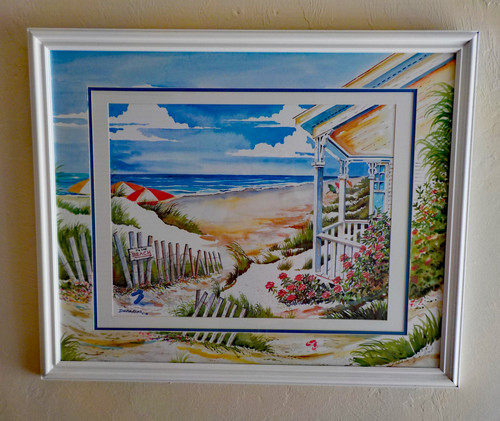To the Beach Cottage custom framed fine art print with ORIGINAL Hand Painted Matting