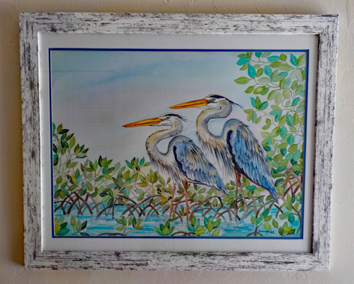 Blue Herons ORIGINAL Watercolor Painting