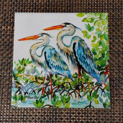Blue Herons tile copyright Donna Elias