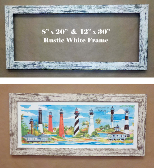 Rustic White Frame Samples. (Sample image is Florida Lights, not the Chesapeake lights)