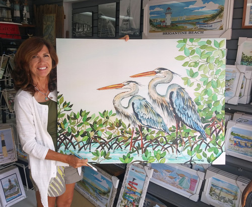 Great Blue Herons copyright Donna Elias. Shown with the artist.