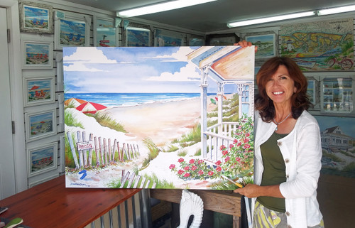 To the Beach Cottage copyright Donna Elias. Shown with the artist.