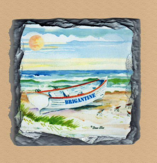 Brigantine Surfboat - 4 Slate Drink Coasters