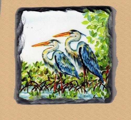 Great Blue Herons - 4 Slate Drink Coasters