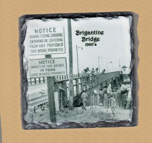 Brigantine Bridge Old Photo  - 4 Slate Drink Coasters