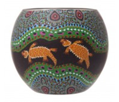 australian aboriginal design glass tea light holders with polymer clay