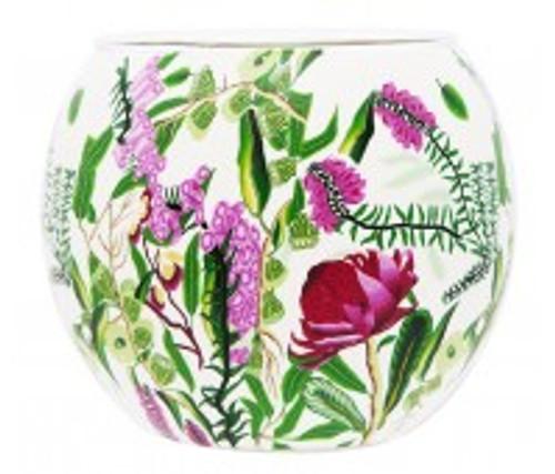 australian flowers glass tea light holders with polymer clay