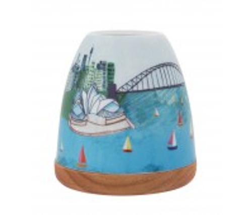 sydney harbour porcelain tea light holder