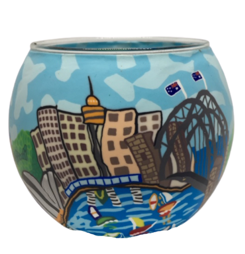sydney harbour australian design glass tea light holder, polymer clay