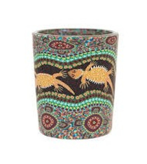 australian aboriginal design glass tea light holder, polymer clay