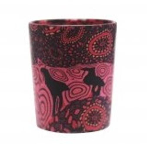 australian aboriginal design glass tea light holder, polymer clay