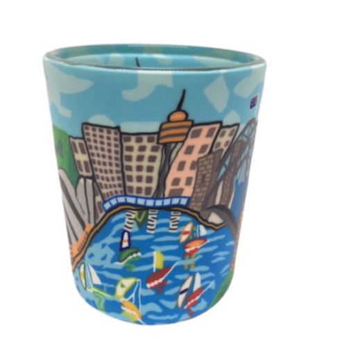 sydney harbour, glass tea light holder, polymer clay