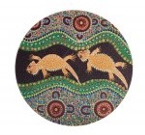 australian aboriginal design ceramic round coaster with a cork backing