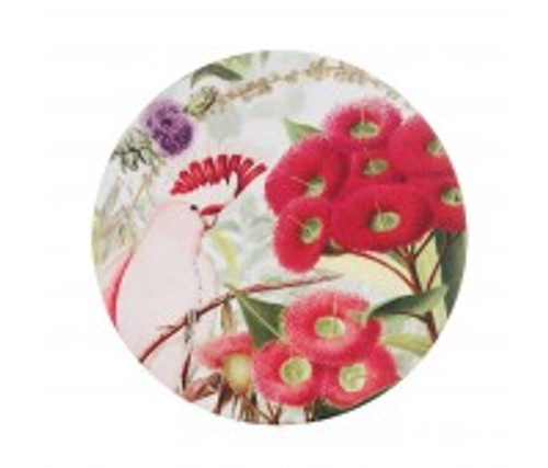 australian design ceramic round coaster with a cork backing