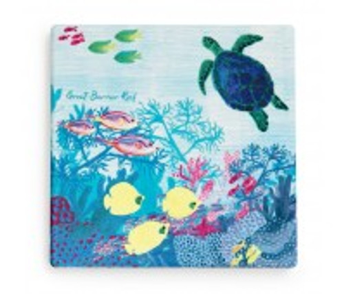 australian design ceramic square coaster with a cork backing, turtle