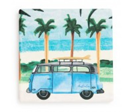 australian design ceramic square coaster with a cork backing, kombi van blue