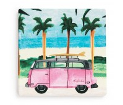 australian design ceramic square coaster with a cork backing, kombi van, pink