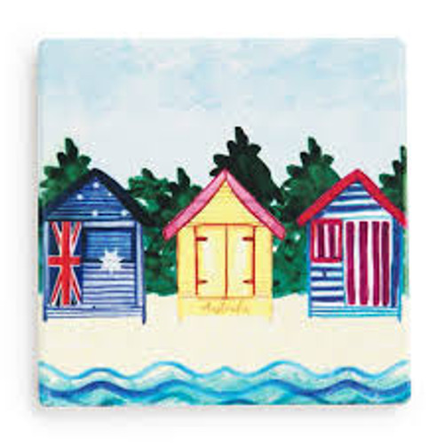australian design ceramic square coaster with a cork backing, melbourne beach huts