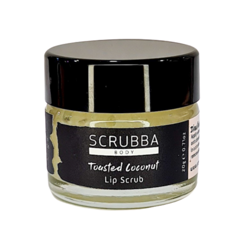 A sugary base for exfoliating and a mixture of shea butter, coconut oil, jojoba oil and Vitamin E to hydrate and lock in moisture.
