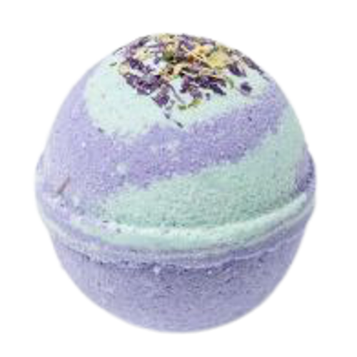 Bath bomb with essential oils and cocoa butter.