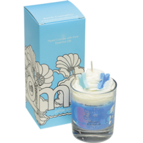 whipped, piped glass candle with pure essential oils
