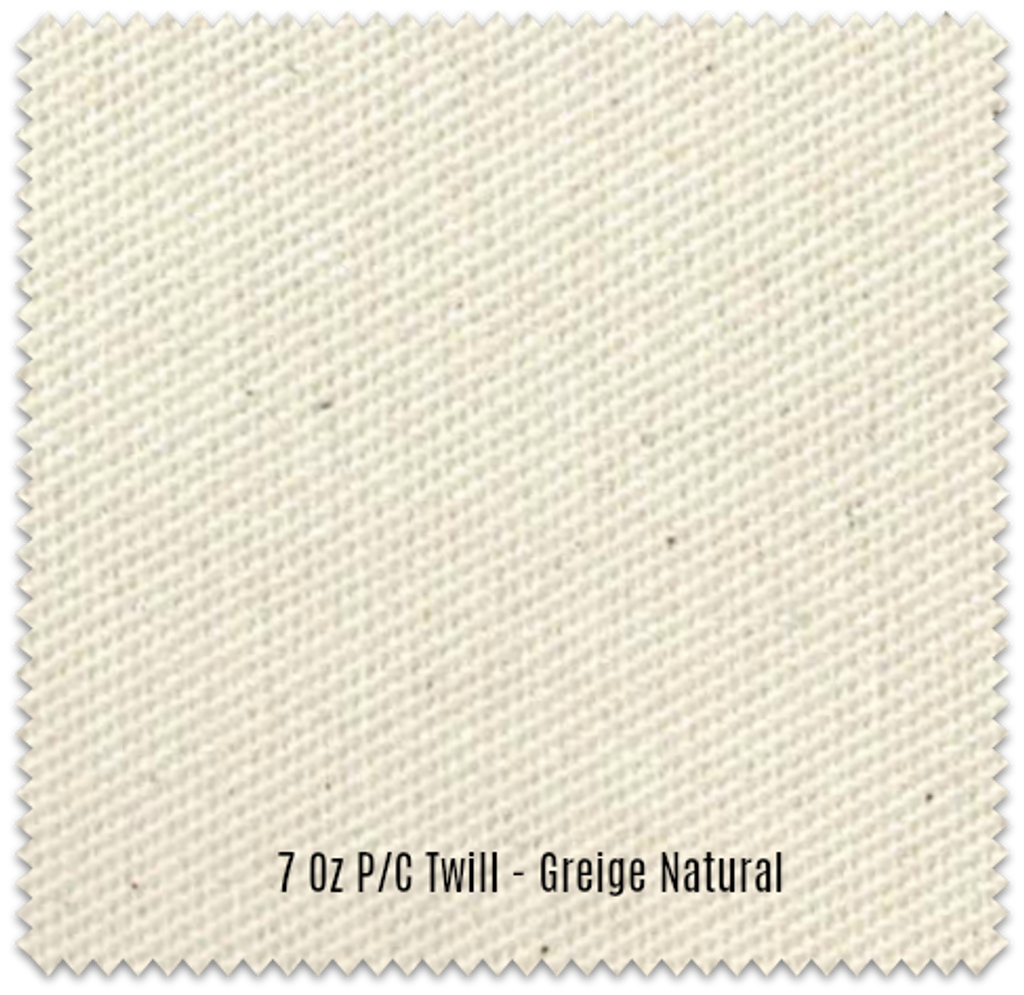 "Greige (Natural) 7 oz P/C Twill, 63"" Wide (Raw Cloth, Unwashed Fabric)"