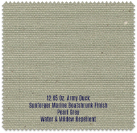 "12.65 oz Cotton Army Duck, 35""""Wide, Sunforger Marine Boat Shrunk Finish, Pearl Grey, Water & Mildew Repellent"