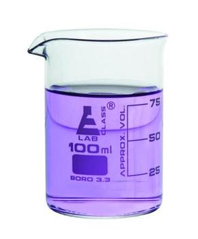 100ml Borosilicate Glass Low Form Beaker, Pour Spout