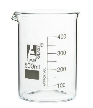 500ml Borosilicate Glass Low Form Beaker, Pour Spout