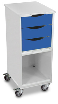Compact 3 Drawer Lab Cart, Global Blue