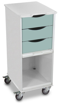 Compact 3 Drawer Lab Cart, Catalina Mist Green