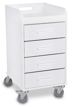 Compact 4 Drawer Locking Cart, White