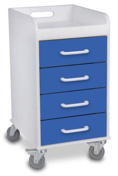 Compact 4 Drawer Locking Cart, Global Blue