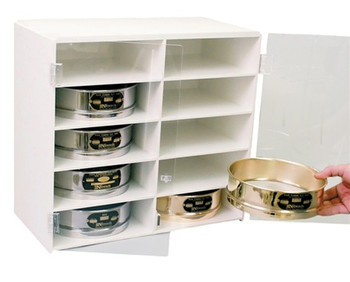 White PVC Test Sieve Cabinet - 10 Compartments