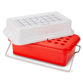 Globe Scientific Red Mini Cooler with Gel Filled Cover, 4 x 8