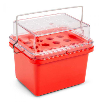 Globe Scientific Red Mini Cooler for 15mL Tubes, 3 x 4