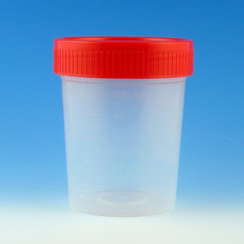 Globe Scientific 4 oz Specimen Containers & Collection Cups, Red, Case of 100