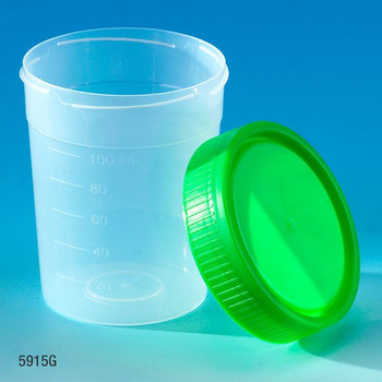 Globe Scientific 4 oz Specimen Containers & Collection Cups, Green, Case of 500