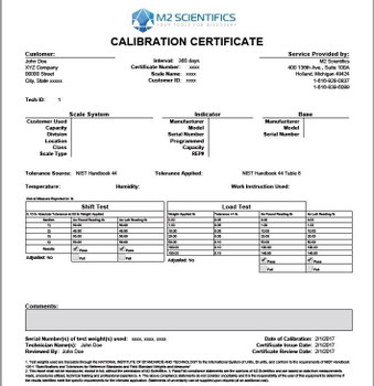 NIST-Traceable Calibration Report for Moisture Analyzers