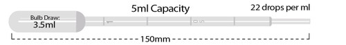 MTC Bio P4111-00 5 mL Disposable Transfer Pipettes, Non-Sterile, Bulk Bag