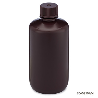 Globe Scientific 7060250am Amber Narrow Mouth Round Bottles