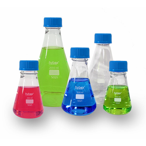 benchmark scientific hybex erlenmeyer flask with gl45 screwcap