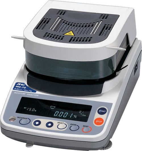 A&D Weighing MS-70 Moisture Analyzer, 71 g x 0.1 mg / 0.001%