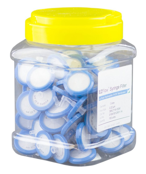 EZFlow 13mm Syringe Filter Sample Prep, 0.22um, Hydrophilic PVDF, 388-2116-OEM