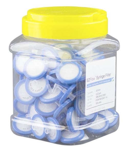 EZFlow 33mm Syringe Filter Sample Prep, 0.22um, Hydrophilic PVDF, 388-2416-OEM